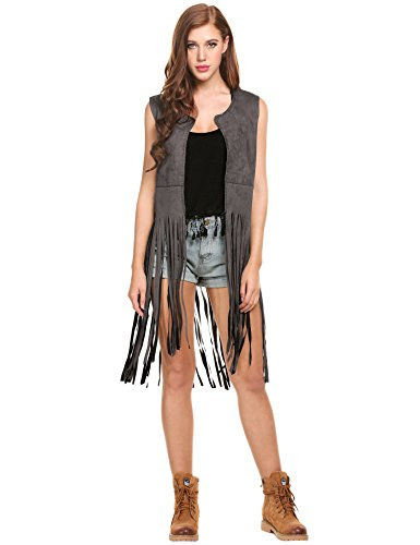 Zeagoo Bohemia Suede Fringed Vest (Small, Black) ()