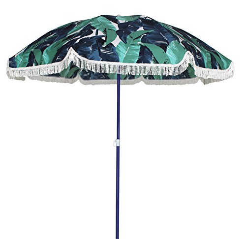 AMMSUN 6ft Outdoor Patio Beach Umbrella Sun Shelter with Fringe UV50+ Sun Protection, Lightweight, Portable & easy to setup in the Sand and Carry Bag (Green)
