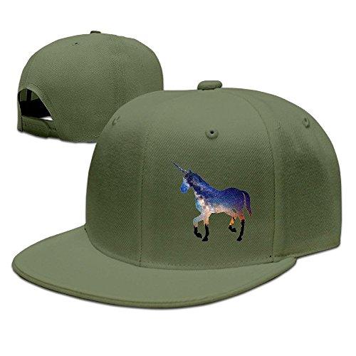 NUBIA Unicorn Horse Outdoor Brim Cap Snapback Flat Bill Hat ForestGreen