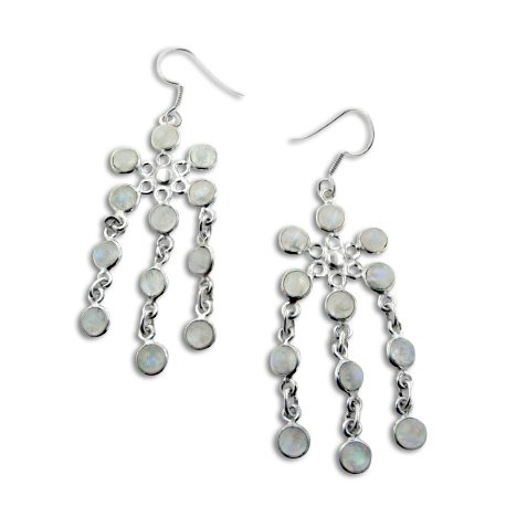 - Cascading Rainbow Moonstone Flower Chandelier Sterling Silver Earrings