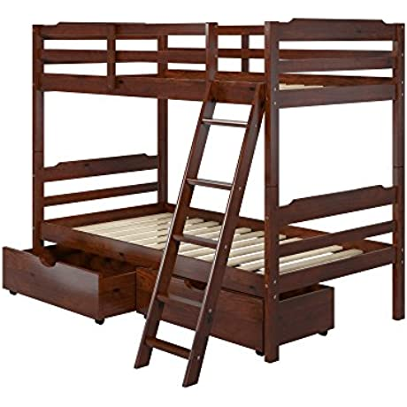 Manhattan Comfort Hayden 4 0 Collection Solid Pine Wood Twin Size Convertible Children S Bunk Bed Set With Storage Drawers Twin Matte Brown