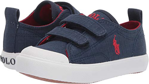 Polo Ralph Lauren Kids Unisex Kingsley EZ (Toddler) Navy Textured Canvas/Red Pony 7 M US Toddler (Ralph Lauren Toddler Shoes)