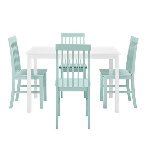 We furniture 5 piece chic wood dining set green sets for Kitchen set node attributes