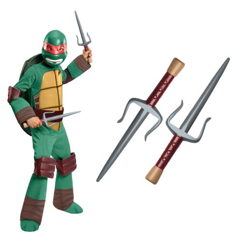Teenage Mutant Ninja Turtle - Raphael Kids Costume With Sais, Small - Teenage Mutant Ninja Turtles Raphael's Sais