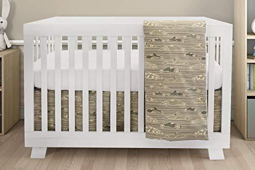 BOOBEYEH & DESIGN Baby Crib Bedding for Girls and Boys, Beige and Green Race Day Lead Macon Car Design, 4-Piece Set Includes Fitted Sheet, Crib Comforter, Comforter Cover, - Car Race Set Crib Bedding