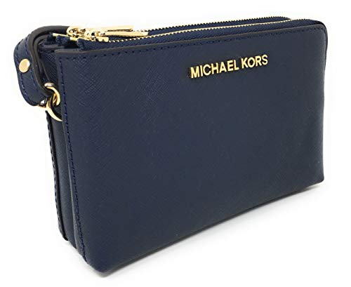 Travel Large Double Gusset Top Zip Saffiano Leather Wristlet (Navy) ()