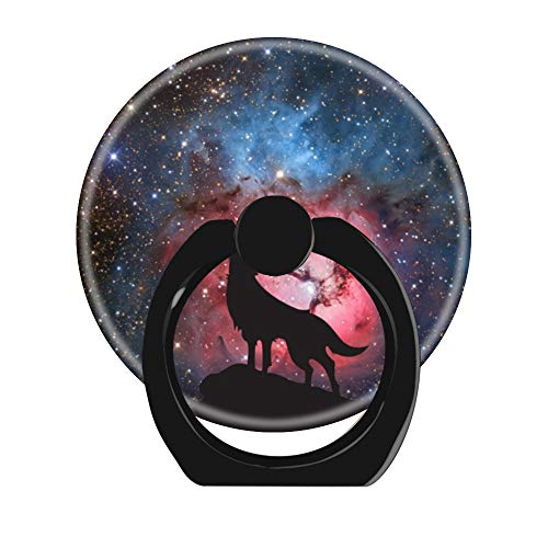 360 Rotation Cell Phone Ring Holder Stand,Finger Ring Grip with Car Mount Hooks for Smartphones and Tablets-Wolf Howling in Galaxy