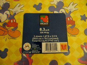 Disney Mickey Mouse Vintage Gift Wrap Wrapping Paper - Any O
