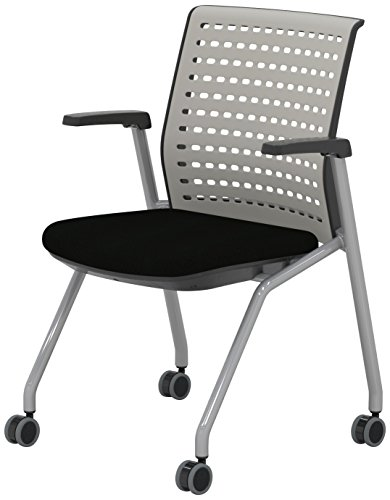Mayline KTS1SGBLK Thesis Training Chair Arms with Static Gray Poly Back and Black Fabric (Mayline Fabric Chair)