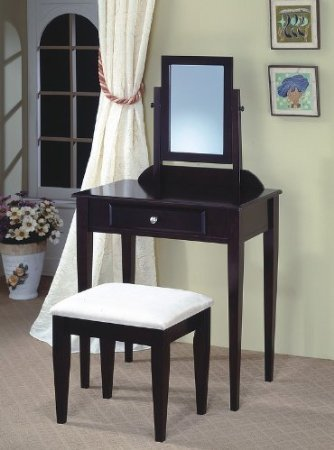 jrs wood vanity set with stool and mirror black finish - Black Vanity Set