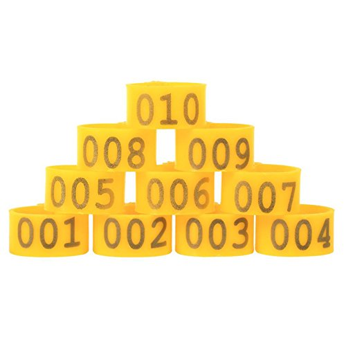100PCS/Bag 16MM 001-100 Numbered Plastic Poultry Chickens Ducks Goose Leg Bands Leg Rings (Yellow) (Plastic Chicken Rings)