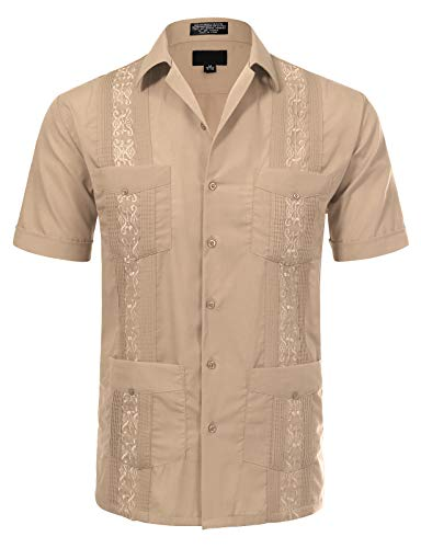 JD Apparel Men's Short Sleeve Cuban Guayabera Shirts20-20.5N 4XL Light Khaki ()