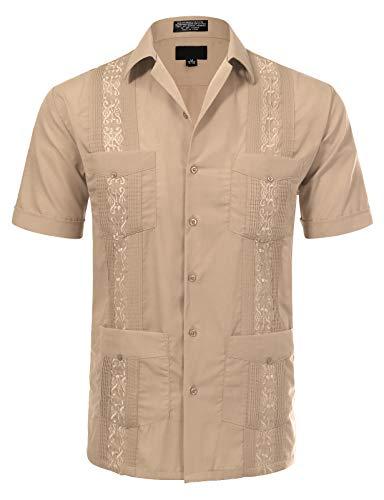 JD Apparel Men's Short Sleeve Cuban Guayabera Shirts16-16.5N Large Light Khaki]()