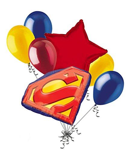 7 pc Superman Emblem Balloon Bouquet Party Decoration Happy Birthday Super Hero -