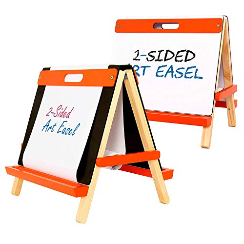U.S. Art Supply Children's 3-in-1 Tabletop Double-Sided Art Activity Easel - Chalkboard, Dry Erase Board and Paper Roll - Portable, Chalk Marker Trays - Fun Kids Toddlers Learn to Paint, Draw, Write ()