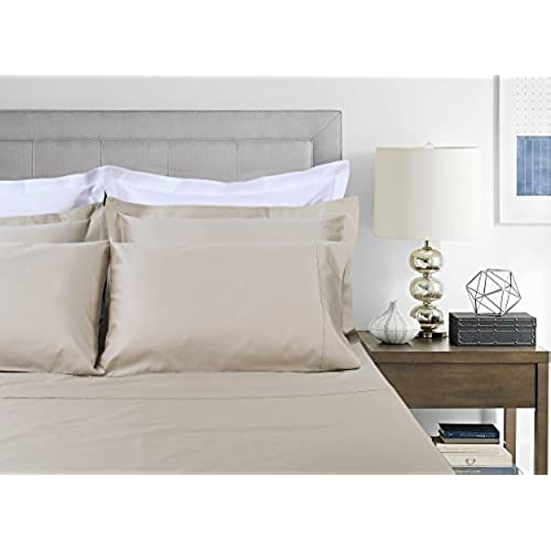 400 Thread Count 100% Extra Long Staple Cotton Sheet Set, Full Sheets,  Luxury Bedding, Full Sheets 4 Piece Set ,Smooth Sateen Weave,Beige, By  Threadmill ...