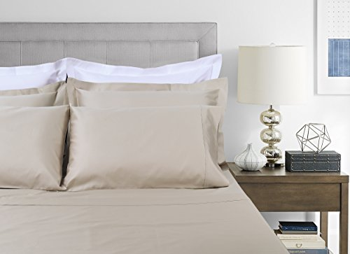 800 Thread Count 100% Extra-Long Staple Cotton Sheet Set, Queen Sheets, Luxury Bedding, Queen 4 Piece Set , Smooth Sateen Weave, Beige, by Threadmill Home Linen (Linen Beige Bed)