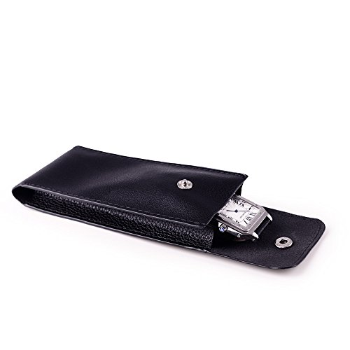 Case Apple Leather Travel (Oirlv Black Leather Travel Jewelry Pouch Watch Bracelet Storage Bag)