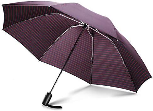 [해외]Leebotree 접이식 우산 원터치 자동 개폐 레이디스 맨 즈 반대로 접어 식 강도 8 개의 뼈 초 발 수성 차 광 열 비가 겸용 경량 큰 접는 우산 우산 장 마 대책 (스트라이프) / Leebotree Folding Umbrella One Touch Automatic Opening and Closing W...