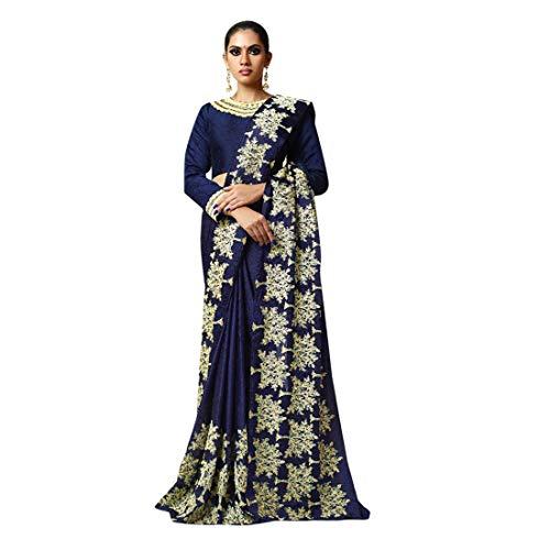 - Blue Gorgeous Stylish Party Wear Plain Saree with Border Festival Sari Indian Silk Handwork Blouse 7444