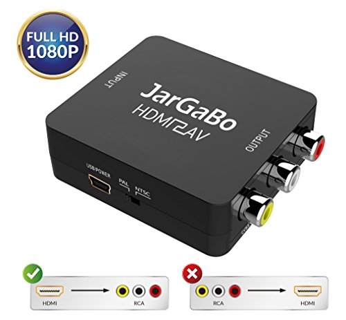 HDMI to RCA, HDMI to AV, JarGaBo 1080P HDMI to AV 3RCA CVBS Composite Video Audio Converter Adapter Supports PAL/NTSC, Black Box Adaptor