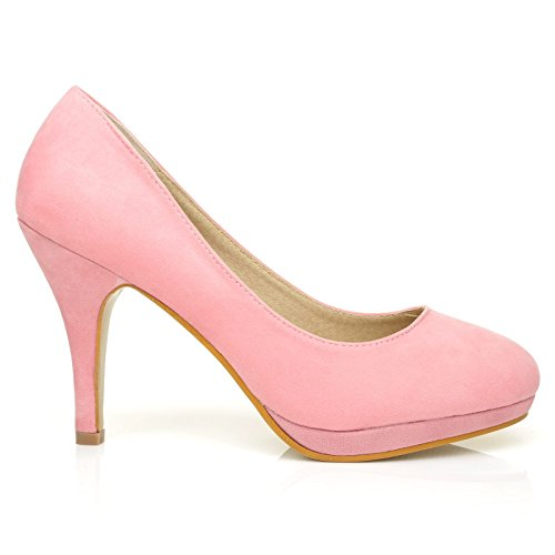 ShuWish UK Chip Baby Pink Faux Suede Pumps Mid-High Heel Low Platform Office Court Shoes JPYZGUHkQ
