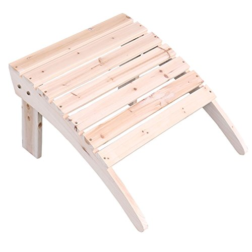Emirc Fashion Outdoor Wood Unfished adirondack chairs Ottoman Patio Deck Garden Furniture (Adult,Natural)