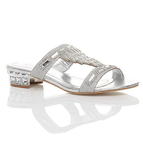 Silver Low Heel Ajvani Sandals Rhinestone Block Size Women v5xqwx0A