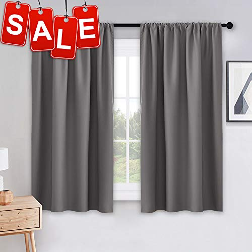 Grey Blackout Curtains - Rod Pocket Drapes Thermal Insulated Panels Home Décor Window Treatments Draperies for Bedroom, 42 inch Wide by 45 inch Long, Grey, Sold as 1 Pair