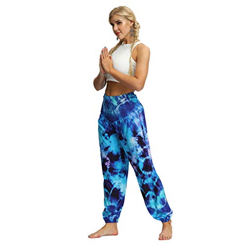 (◐OFEFAN◑ Bohemian Elephant Harem Loose Yoga Travel Lounge Festival Casual Beach Pants Blue)