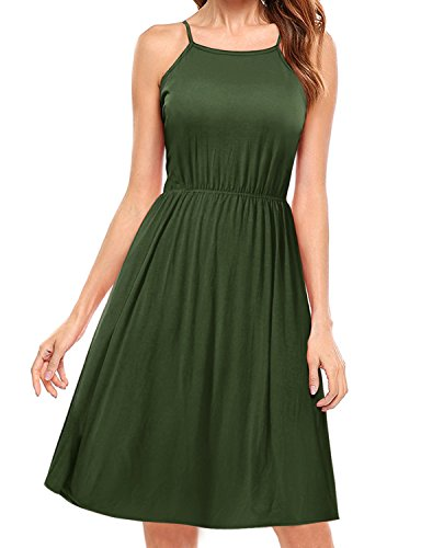 (Regna X BOHO for woman's halter neck comfy cover up olive 3xl plus maternity tall Sleeveless Midi Dress)