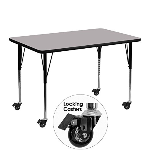 Flash Furniture Mobile 30''W x 48''L Rectangular Grey Thermal Laminate Activity Table - Standard Height Adjustable Legs