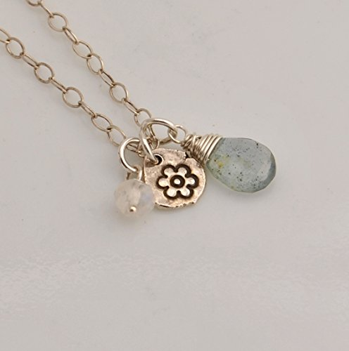 Moss Aquamarine Rainbow Moonstone Necklace with Fine Silver Flower Charm on Sterling Silver ()