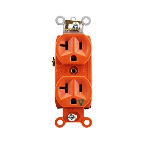 Pass & Seymour IG6300 Duplex Receptacle Isolated Ground 20A 125V, Orange (10 Pack)