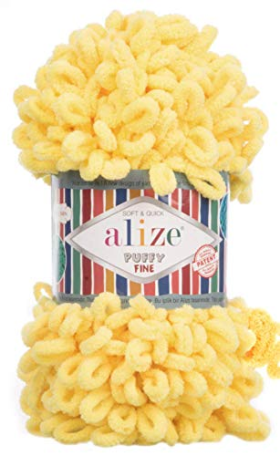 Alize Puffy Fine Baby Blanket Small Loop 100% Micropolyester Soft Yarn Lot of 4skn 400gr 64yds (113 - Yellow)