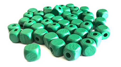 - 500 pcs Green Square Wood Beads 10mm Bead Jewelry Macrame Wooden Tool 51b