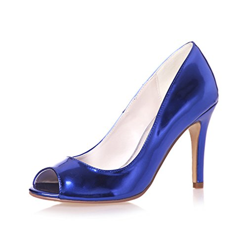 Clearbridal Women's Patent Leather Open Peep Toe Heels Wedding Bridal Shoes ZXF5623-14 Royal Blue 8mDc7TTI