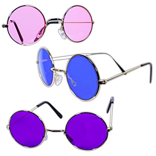 John Lennon Hippy Style Sunglasses (12 Pack)(Assorted Colors)