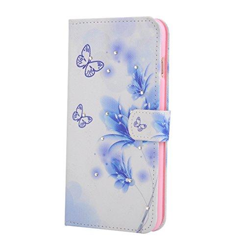 Für Apple iPhone 6 (4.7 Zoll) Tasche ZeWoo® Ledertasche Strass Hülle PU Leder Schutzhülle Glitzer Case Cover - XX025 / blaue Schmetterlinge