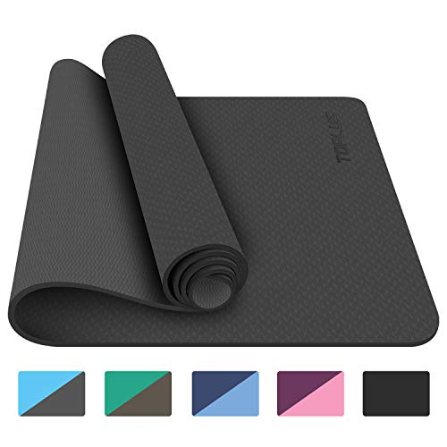 TOPLUS Yoga Mat, 1/4 inch Pro Yoga Mat TPE Eco Friendly Non Slip Fitness Exercise Mat with Carrying Strap-Workout Mat for Yoga, Pilates and Floor Exercises (Black)