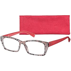 """Cody"" Oversized Women's Rectangular Fashion Readers By ICU (2.75, Rubarb)"