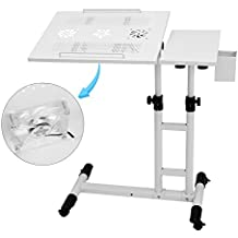 360° Rolling Portable Laptop Table Mobile Desk, Adjustable Height Work Cart Computer Desk Stand Over Sofa Bed Table w/ USB Fan & Pen Container(22.8-37.8'')