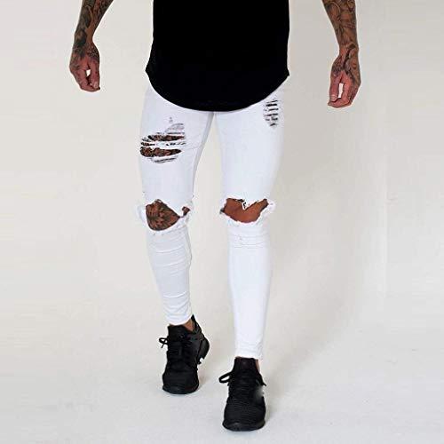Holes Da Bianca Cherre Denim Slim Motociclista Jeans Skinny Strappati Aperta Cerni All'aria Pantaloni Fori Abbinare Fit Di Lunghi Streetwear Uomo Comodo HxdvzARwq
