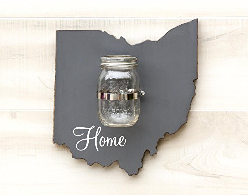 Ohio State Map Shape Mason Jar Wall Vase or Sconce. Additional States O-W available. 20 Paint Colors. Solid ¾