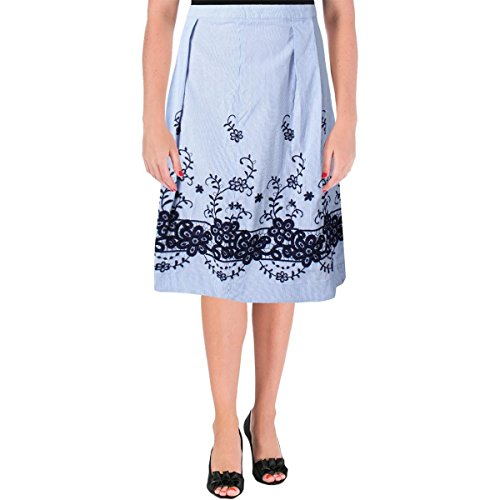 (Tommy Hilfiger Womens Striped Embroidered A-Line Skirt Blue 12)