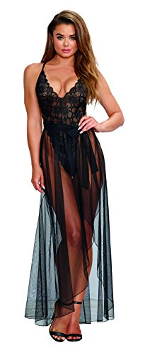 Dreamgirl Lace Teddy (Dreamgirl Women's Black Teddy and Matching Sheer Wraparound Skirt - Large)