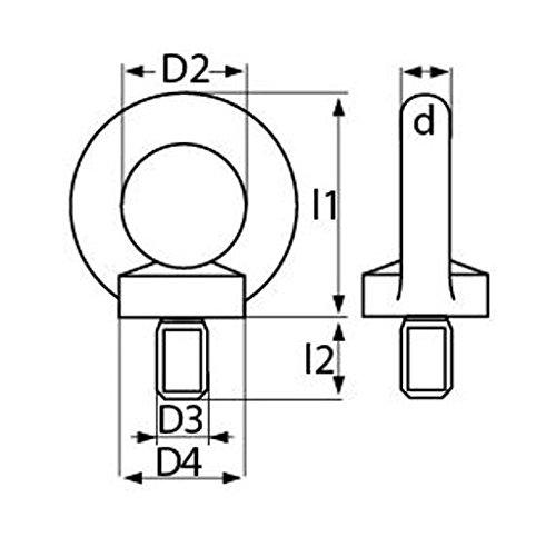 10x Ringschraube Ringschrauben M6 DIN580 C15 Stahl verzinkt 931745