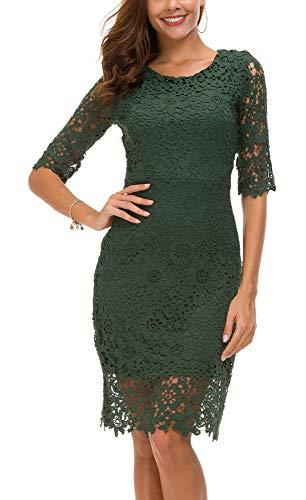 Urban CoCo Women's Lace Sheath Dress Slim Fit Midi Dress (M, Dark Green)