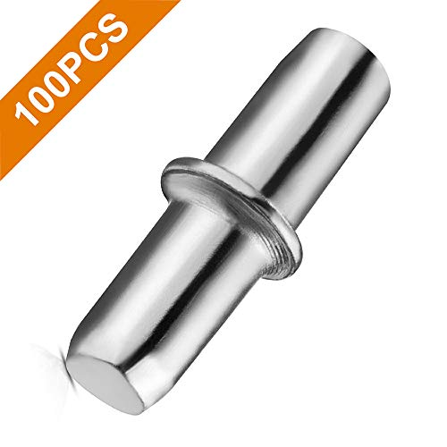 100PCS Shelf Pins, VAKOGAL Shelf Holder Support Pins 5mm/0.2inch, Made from Nickel-Plated Metal Material, Shelf Pegs are Anti-Corrosion, Sturdy and Durable, for Furniture Shelves Bracket