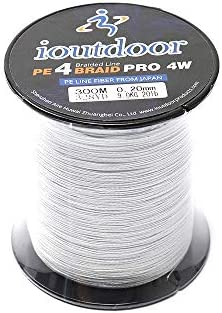 iOutdoor Products PE Braided Fishing Lines 6LB 10LB 20LB 30LB,Carp Fishing Line 4 Strands 300M 328Yards,Fishing Wire Zero Stretch Abrasion Resistant for River Sea Freshwater Saltwater